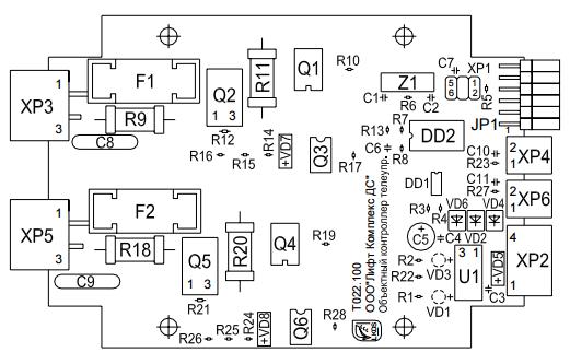 Объектный контроллер – телеуправление. Схема расположения элементов