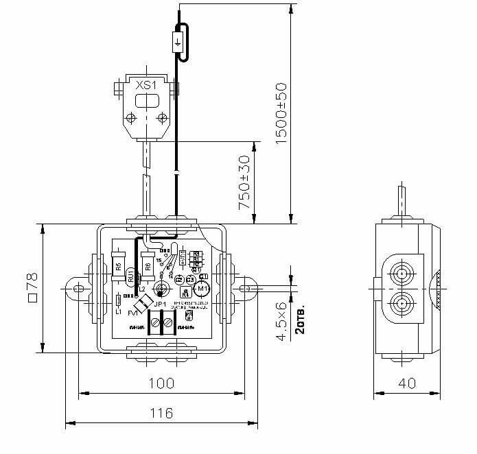 Модуль грозозащиты ЛНГС.465213.083–03 Внешний вид. Габаритные, установочные и присоединительные размеры.